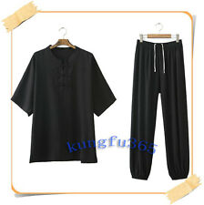 New Men Short sleeve Chinese Traditional  wushu suit tai chi kungfu uniform