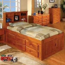 Discovery World Furniture Honey Bookcase Captains Bed Twin