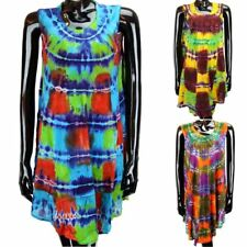 TIE DYE HIPPIE TUNIC DRESS TOP SUMMER FESTIVAL KAFTAN FREE SIZE 8-20