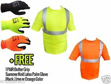 ANSI Class II Reflective Safety Lime/Orange Short Sleeve T-Shirt HIGH VISIBILITY