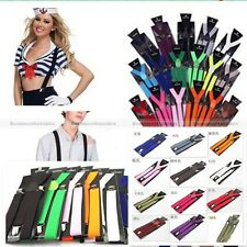 "1"" Clip-On Elastic Y-Shape Suspenders Adjustable Brace Plain Solid Unisex Womens"