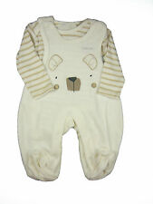 Baby Girl Boy Unisex Outfit Dungaree and Bodysuit Set Bear Striped Cream New