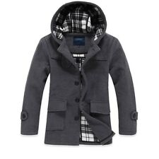 mens new winter fashion casual  jacket wool coat hooded outwear overcoat