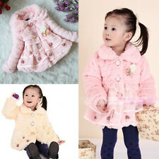 Cute Baby Girl Kid Princess Lace Dress Coat Party Warm Winter Tops 2-6T Clothes