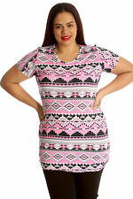 Womens Tops Aztec Print Ladies Casual T-Shirt Plus Size Short Sleeves Nouvelle