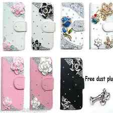 NEW DELUX 3D LEATHER BLING ROSE DIAMANTE COOL SPARKLE CASE COVER FOR IPHONE 4 4S