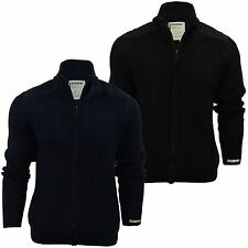Mens Zip Cardigan Jumper Dissident 'Strangford' Funnel Neck Wool Mix Knit