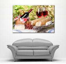 BOX FRAMED CANVAS WALL ART RED WINE BOTTLE & GRAPES FRANCE PICTURE NEW PRINT