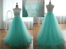 New Turquoise Floor Length Prom Dresses Lace Overlay Vintage A Line Prom Gowns