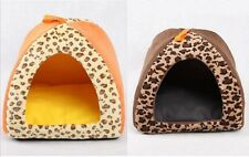 New Lepoard Pet Dog Cat Tent House Bed 2types Small,Medium,Large Orange,Brown