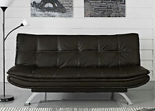 Stunning Italian Designer Sofa Bed Black or Brown Faux Leather 3 Seater Chrome