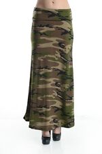 ARMY GREEN MULTI COLOR CAMOUFLAGE CAMO MILITARY FOLD OVER MAXI SKIRT S M L