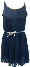 Navy Blue Chiffon Skater Dress with Pleated Skirt and embroidered neckline