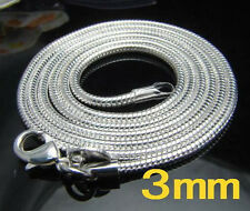 "Promotion Price  925Sterling Silver Vivid 3MM Snake Chains Necklace 16-24"" N192"