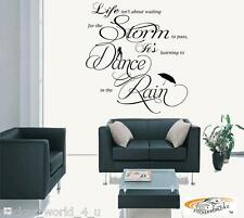 W067 Mural Wall Art Room Vinyl Sticker Dance In The Rain Dancing Quote 4 Sizes