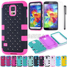 Heavy Duty Hybrid Rubber Bling Diamond Matte PC Combo Case for Samsung Galaxy S5