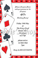 Personalised 40th Birthday Invitations/invites playing cards  age can be changed