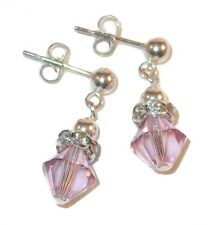 LT AMETHYST Crystal JUNE Birthstone Earrings Sterling Silver Swarovski Elements
