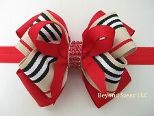 "Girls 4"" Tan Red Stripe Holiday Glitz Rhinestone Hair Bow Clip Barrette Headband"