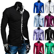 New Fashion Casual Double Collar Placket Contrast color long sleeve men's shirt
