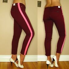 Hudson Loulou Tuxedo Neon Pink Dark Red Skinny Jeans 24 25 26 27 28 29 31 32 New