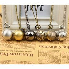 Bronze Retro Round Ball Necklace Pendant Quartz Pocket Watch Mens Womens Gift