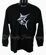 MEN'S LONG SLEEVE T-SHIRT 100% COTTON BRAND NEW MARLIN DESIGN