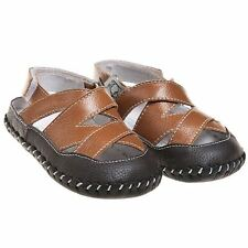 Boys Girls Infant Toddler Leather Soft Sole Baby Shoes Brown Tan with Open Heel