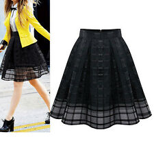 Black Women Elastic High Waist Chiffon Slim Skirt Ladies Organza Pleated Skirt