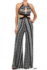 Black White Tribal Open Front Romper Wide Leg Jumpsuit Jumper Women Pant