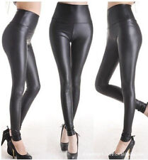 Shiny Metallic High Waist Black Stretchy Leather Leggings S/M/L XL Plus Size
