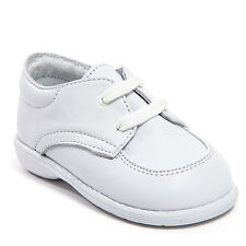 Baby Boy White Leather shoes with Laces: Size 3 to 8 Made in Mexico