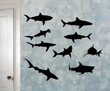 Sharks Sea Creatures - Vinyl Wall Decals Set of 9 - Select Color