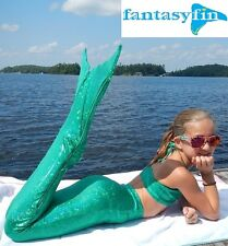 FANTASY FIN SWIMMABLE KID'S MERMAID TAIL with MONOFIN - SHIMMER GREEN