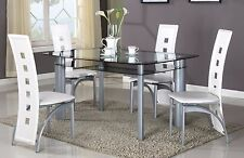 Brand new 5 Pcs Modern Dining Set, Glass Top Dining Room Table & 4 Chairs Set