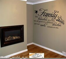 Adhesivo W093 FAMILY LIKE BRANCHES DIRECTION ROOTS AS ONE Vinilo Cita Arte Pared