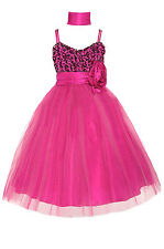 Dressesforgirls Fuchsia Sequined Flower Girl Pageant Graduation Dress J3333