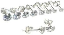 Solid 925 Sterling Silver CZ Clear Round Flat Style Earrings Studs. 3mm to 7mm
