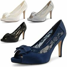 New Ladies High Stiletto Heel Peep Toe Party Evening Satin Sandals Shoes UK 3-8