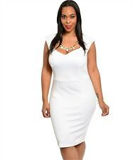 The Plus Size  White Fitted Dress with Built in Necklace.