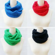 Women Winter Warm Infinity 2 Circle Cable Knit Cowl Neck Long Scarf