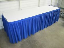 TWO 10' Professional Grade PolySpun Pleated TABLE SKIRTS 6 foot table + 10 Clips