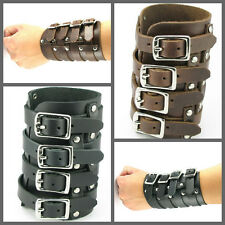 UH091 Punk Brown/Black REAL Leather 4 Buckles Wide Wristband Cuff Punk Bracelet