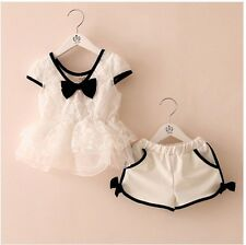 Toddler Girl KIds Cute Bows Lace Shirts And Shorts 2 Pieces Sets 2-7 Y S612