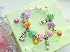 candy stripe farm animals charm braclelet Girls or boys charm gift pouch or box