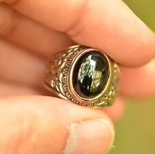 "PERSIAN BRONZE MEN RING BLACK ONYX ANTIQUE VINTAGE STYLE ""SUFI"" STYLE"
