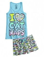 JUSTICE Girls Cat Nap Pajamas Pajama Set, NEW, 6 7 8 10 12 14 16 18  PJs