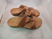 Ladies Vionic wOrthaheel Technology PAMPLONA Tan Leather Sandals-PREOWNED(8BB2)