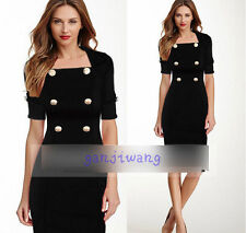 WOMENS Vintage Rockabilly Pinup  Fitted Bodycon Pencil Wiggle Midi Dress