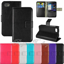 Premium Slim PU Leather Wallet Flip Pouch Case Stand Cover For Blackberry Q5